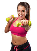 Teenager with weights — Stockfoto