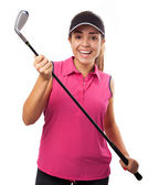 Woman holding golf club — Foto Stock