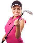 Woman holding golf club — Stock Photo