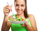 Woman holding fresh salad — Stock Photo