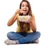 Woman holding pop corn bowl — Stock Photo #47424149