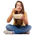 Woman holding pop corn bowl — Stock Photo #47424151