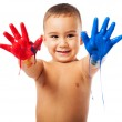 Adorable kid with painted hands — Stock Photo #47425803