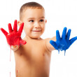 Adorable kid with painted hands — Stock Photo #47425841