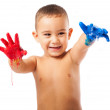 Adorable kid with hands painted — Stock Photo #47425855