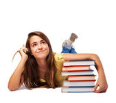 Woman hugging books — Stock Photo