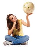 Girl holding world globe — Stock Photo