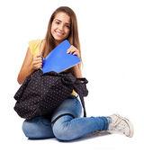 женщина с рюкзаком — Стоковое фото