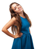 Girl wearing blue dress — Stock Photo