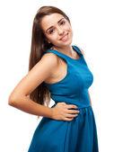 青いドレスを着ている少女 — ストック写真