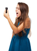Woman shouting at mobile — Stock fotografie