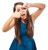 Woman doing frame gesture — Stock Photo