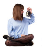 Girl screaming on alarm clock — Stock Photo