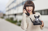 Woman talking on telephone — Foto de Stock