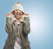 Kvinnan skriker — Stockfoto