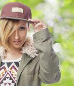 Woman wearing cap — Stock Photo