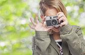 Frau fotografieren — Stockfoto