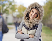 Woman wearing hood coat — Stock Photo