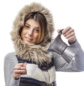 Woman preparing cup of coffee — Stock Photo