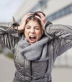 Woman suffering from headache — Stock Photo