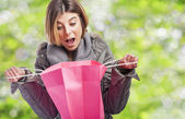 Woman opening shopping bag — Stock Photo