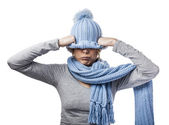 Woman covering head — Stock Photo