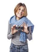 Tomando fotos de mujer — Foto de Stock