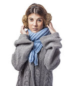 Woman in earmuffs — Stock Photo