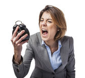 Woman screaming to clock — Stock Photo