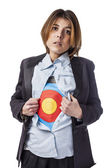 Business woman with target symbol — Stock Photo