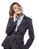 Business woman with telephone — Stock Photo