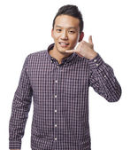 Man doing call gesture — Stock Photo