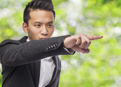 Business man pointing up — Stock Photo