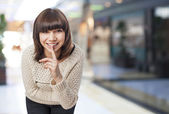 Woman doing silence sign — Stock Photo