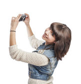 Woman doing photo — Stock fotografie