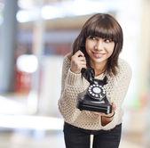 Donna parlando sul telefono — Foto Stock