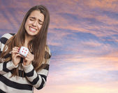 Woman holding dice — Stock Photo