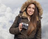 Tomar foto de mujer — Foto de Stock