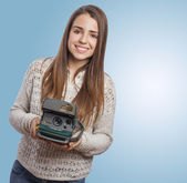 Woman taking photos — Stock Photo