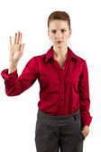 Businesswoman with Gestures — Stock Photo