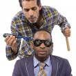Mechanic or handyman fixing loose screws on male head — Stock Photo #49308187