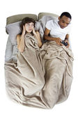 Woman with boyfriend in bed — Stock Photo