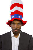 Black man playing American Mascot — Stock Photo