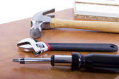Tools on building shelf — Stock Photo