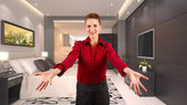 Businesswoman with spreading hands — Stockfoto