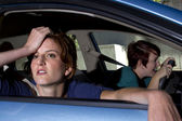Passenger woman being car sick — Stock Photo