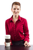 Woman serving coffee — Stock Photo