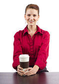 Woman serving coffee — Stock Photo