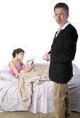 Daughter complaining to dad about cyber bullying — Stock Photo