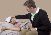 Father taking care of teenager with cold or flu — Stockfoto